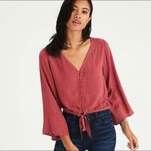 American Eagle Bell Sleeve Front Tie Top